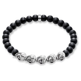 Wholesale Skull Strand Bracelets Black Stone Beads Bracelets for Women and Men Europe Style Silver Skeleton Fashion Jewelry Gift