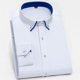 d6ab48a9e6e58d8 Мужская Standard-Fit двойные слои воротник Платье рубашка Smart  повседневная топы с длинным рукавом пуговицы вниз работы офис мягкие рубашки  Easy Care