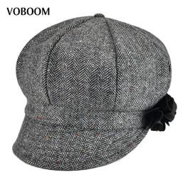 257607e898f0d Compre VOBOOM Mulheres Senhora Jornaleiro Cap Soft Woolen Herringbone  Meninas Hat 171 De Value111
