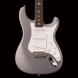 Custom blaCk white guitar online shopping - Custom Paul Reed John Mayer Sliver Tungsten Electric Guitar ST Style Shape Neck Black Neck Plate White Pearl Bird Inlay Tremolo Bridge