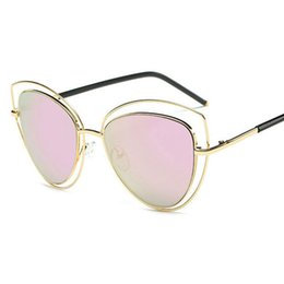 551e14ba3dc New Fashion Cat Eye Sunglasses Women Elegant Brand Designer Metal Hollow Frame  Ladies Goggle Mirror Lenses gafas Vintage Women eyewear