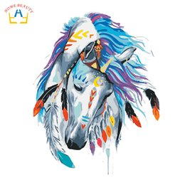 China oil paintings coloring by numbers on canvas nordic pictures animals horse painting for living room home decor wall art W6710 cheap coloring pictures suppliers