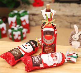 Santa wine online shopping - New Festive Table Decor Dinner Party Red Wine Christmas Santa Tree Bottle Cover Bag Sets Bottle Decor for New Year Xmas Dinner Party