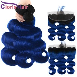 Discount remy blue brazilian virgin hair - Raw Virgin Indian Body Wave Bundles With Closure Pre Plucked 13x4 Lace Frontal Two Tone 1B Blue Remy Human Hair Ombre We