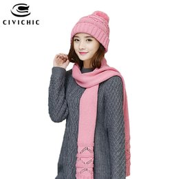 Wholesale CIVICHIC Autumn Winter Knit Hat Scarf Korean Style Warm Set Hollow Out Crochet Shawl Pompon Beanies Solid Color Headwear SH157
