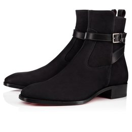 $enCountryForm.capitalKeyWord NZ - Excellent Genuine Leather Ankle Boots Men Slip On Red Bottom Kicko Flat Man Ankle Boots Luxury Designer Outdoor Red Sole Walking EU35-47