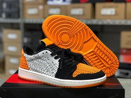 6fd25d1972ea 1 Low Knitting Shattered Backboard Men And Women Basketball Shoes Sail  Starfish Black Chicago OG 1s Men Sports Designer Trainers AH4506-100