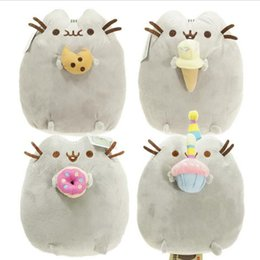 wholesale stuffed animal cat Australia - 1Pcs 24cm Kawaii Brinquedos New Cat Cookie & Icecream & Doughnut 4Styles Stuffed Plush Animals Toys for Kids and Girls
