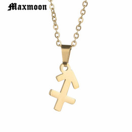 Maxmoon Top Quality Zodiac Jewelry Sagittarius Necklaces   Pendants  Stainless Steel Necklace for Men Women f67472a6124e