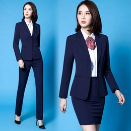 formal womens work dresses Canada - Womens Formal 2 Pieces Office Business Blazer and Skirt Pant Suit Set Blue Black S-5XL Plus size Long Sleeve Work wear Dorp Shipping DK838F