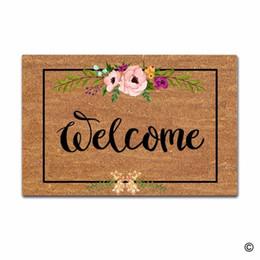 welcome mats doormat 2019 - Door Mat Entrance Mat Welcome Flowers Patten Non-slip Doormat 23.6 by 15.7 Inch Machine Washable Non-woven Fabric cheap