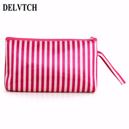 pen pencil kids UK - DETCH Portable Striped Pencil Bag Pen Case School Student Stationery Storage Bag Organizer Comestic Make-up Pouch Kid Gift
