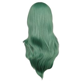Long Wave Costumes Hair UK - wig women QQXCAIW Long Curly Cosplay Costume Party Women Wig Green 70 Cm High Temperature Synthetic Hair Wigs