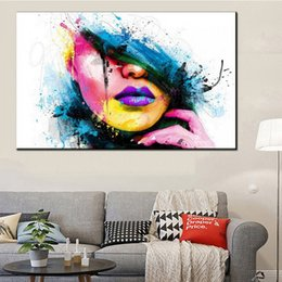 Painting Faces Australia - Fashion Spray Painting Colorful Beautiful Face Oil Painting Decoration For Home Living Home Decor Simple And Modern