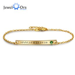 engraving plates for bracelets 2019 - Personalized Gift Birthstone ID Braceles Customize Engrave Name Gold Color Bracelets & Bangles For Women (JewelOra BA102