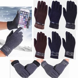 men touch screen gloves 2019 - Mens Touch Screen Gloves Cold Weather Windproof Thermal Glove Men Velvet Wrist Gloves Cycling and Running Gloves 0350 di