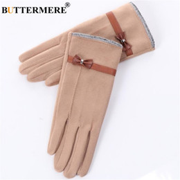 $enCountryForm.capitalKeyWord NZ - BUTTERMERE Women Gloves With Bows Ladies Glove For Driving Suede Warm Winter Elegant Velvet Khaki Female Touch Screen Gloves