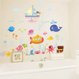 Cartoon Fishes Bubbles Underwater Sealife Wall Stickers for Kids Room  Bathroom Decoration Waterproof Mural Art Pvc Home Decals 884a7f2c2a78d