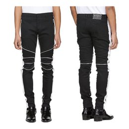 China HOT Sale BALMAIN JEANS Fashion 2018 Zippers Skinny Slim Fit Mens Distressed Justin Bieber Black Cotton Denim Jeans Men Jean supplier distressed cotton suppliers
