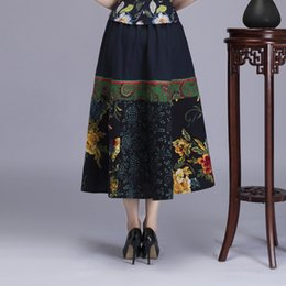 2d16d3ca0617 Summer New Vintage Linen Improved Chinese Style Women Skirt Casual  Patchwork Flower A-line Skirt One Size Comfortable