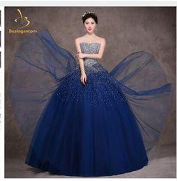 c282ee19ef1 Bealegantom Royal Blue Quinceanera Dresses Ball Gown 2018 Beaded Crystal  Lace Up Sweet 15 16 Dresses Vestidos De 15 Anos QA1097