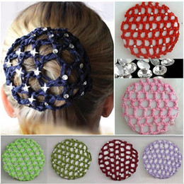 Crochet Snood Hair Net Australia - Beautiful Bun Cover Snood Women Hair Net Ballet Dance Skating Crochet Fanchon Rhinestone Styling Headwear Accessories