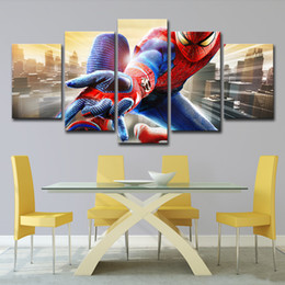 spiderman painting Australia - 5PCS Painting Modern Home Decor Canvas Poster Living Room Modular Frame 5 Pieces Superhero Movie Spiderman Wall Art Pictures PENGDA