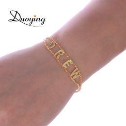 Duoying duplo elo da cadeia pulseira diy personalizado capital carta pulseiras jóias personalizadas iniciais iniciais nome pulseira novo para ety venda por atacado