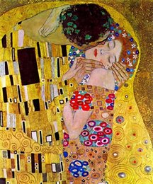 $enCountryForm.capitalKeyWord NZ - The Kiss by Gustav Klimt Handpainted & HD Print Famous Abstract Oil Painting On Canvas Wall Art Home Deco Free Shipping p187