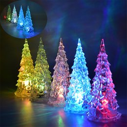 Crystal Christmas Ornament Clear Wholesale Australia - MINI Christmas Tree Led Lights Crystal Clear Colorful Xmas Trees Night Light New Year Party Decora Flash Bed Lamp Ornament Club Cosplay