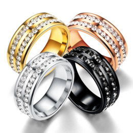$enCountryForm.capitalKeyWord NZ - Fashion Crystal Rings Double Row Diamond Titanium Steel Wedding Band Rings For Women and Men 18K Gold Silver Plated Couples Rings Jewelry