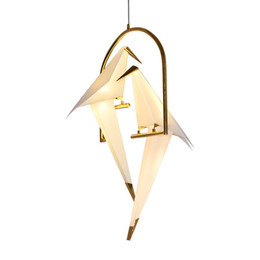 China Modern Paper Crane Metal Chandelier Light Tabel lamp For Restaurant Living Room Dining Room Children's Room LED Bird Design Pendant Lamp suppliers