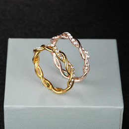 Zinc Alloy Gold Plated Ring Australia - Round Rings For Women Thin Rose Gold Silver Gold Color Twist Rope Stacking Wedding Rings in Zinc Alloy Bijoux Wholesale Jewelry Gift