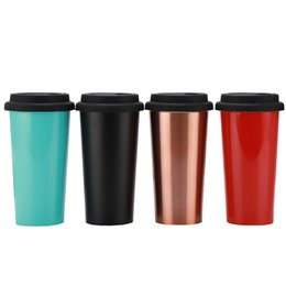 mug foods 2018 - 500Ml Coffee Mug Food Grade Stainless Steel Coffee Cup With Plastic Lid Double Layer Coffee Travel mug Tea Cup discount