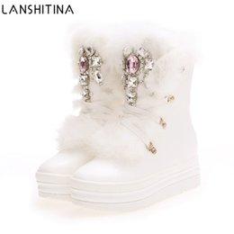 Toptan satış 2017 Gerçek Tavşan Kürk Kış Çizmeler Rhinestones Elmas Kar Botları Kalın Sıcak Yüksek Top Kadın Ayakkabı Büyük Boy 41 Kış Çizmeler