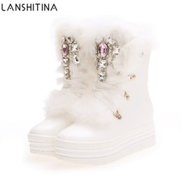 Women leather boot rabbit online shopping - 2017 Real Rabbit Fur Winter Boots Rhinestones Diamond Snow Boots Thick Warm High Top Women Shoes Large Size Winter Boots
