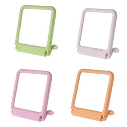 Mirrored Side Tables Wholesale Australia - Single Side Practical Stand Table Makeup Mirror Hanging Wheat Fiber Mirrors