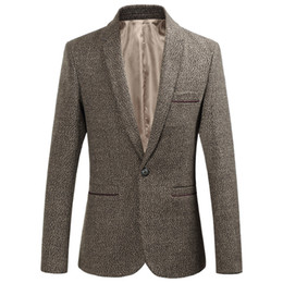 $enCountryForm.capitalKeyWord NZ - Men Casual Blazer Slim Fit Single One Button Suit Jackets Business Menswear Solid Color Grey Wine Red Khaki Clothes Male