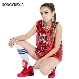 Bull Women Canada - SONGYUEXIA Woman Ds performance wear hiphop hip-hop jazz modern dance Costume bull paillette plus size vest singer stage costume