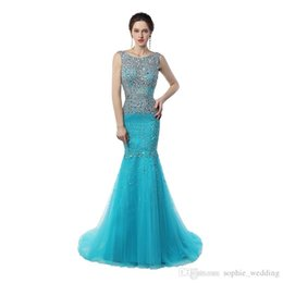 China Real sample Scoop Neck Mermaid Prom Long Dresses Sweep Train Sparkling Crystal Ice Blue Cheap Long Prom Gowns suppliers