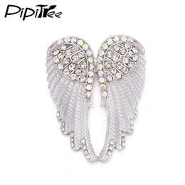 brooch wing Australia - Pipitree Fashion Vintage Angel Wings Brooch Pins Women Men's Jewelry Christmas Gift Antique Gold Color Rhinestone Brooches