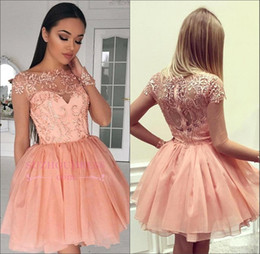 086e4cc4a7d4 2018 Sheer Coral Long Sleeves Lace A-Line Homecoming Dresses Tulle Applique Layered  Ruffles Short Party Prom Dresses BA9193
