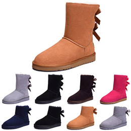 Discount flat leather boot womens - 2018 NEW Australia Classic WGG women winter boots chestnut black grey navy blue designer womens snow boots ankle knee bo