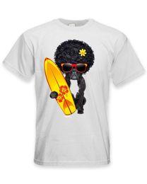 Afro Hair Men Australia - French Bulldog Surfer With Afro Hair Men's T-Shirt - Funny Pet Bull Dog 3D T Shirt Men Plus Size Cotton Tops Tee