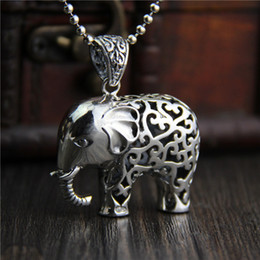 $enCountryForm.capitalKeyWord Canada - hip hop jewelry 925 sterling silver elephant pendant fashion Vintage marcasite necklace for women hollow Thai elephant sweater chain china