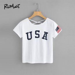 Wholesale ROMWE American Flag Print Criss Cross Back Tee Women Round Neck Short Sleeve Female Top Summer Letter Casual T Shirt