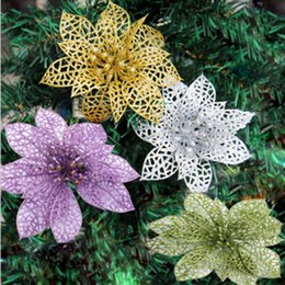 $enCountryForm.capitalKeyWord NZ - 10pcs Colourful Glitter Artificial Hollow Flowers Wedding Party Christmas Xmas Tree Home Valentine's Day Decorations