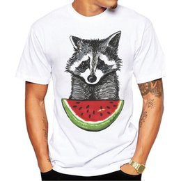 watermelon shirts NZ - 2018 Men T Shirts Fashion Racoon and watermelon Design Short Sleeve Casual Tops Hipster T-Shirt Cool Tee