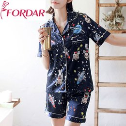 2018 Summer Korean Pajamas Women Casual Fashion Short Sleeved Silk Pockets Shirts  Kawaii Cartoon Printed Loose Shorts Pajamas 5cc7072b3