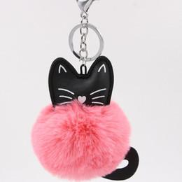 Artificial Chains Wholesalers UK - 17 Color Cat Keychain Pompon Key chain Fluffy Artificial Rabbit Fur Ball Key Rings Women Bag Car Charm Pendant pom pom holder
